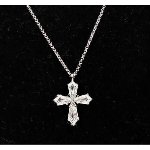 42 - Diamond Set Pendant Cross Motif Ladies Necklace Mounted in 18 Carat White Gold Further Set on 18 Car...