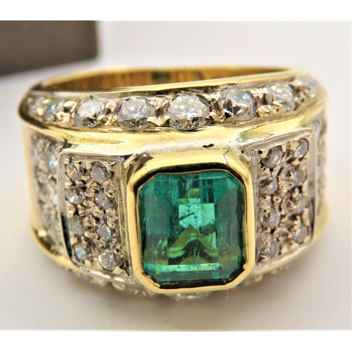 45 - Emerald and Diamond Ladies Ring of Attractive Colour Central Emerald Approximately 1.5 Carats Surrou...