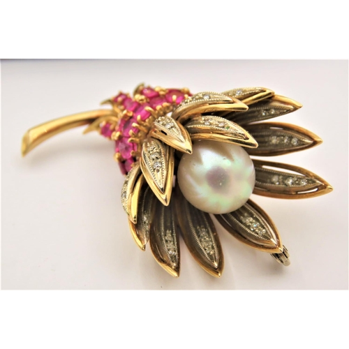 46 - Vintage Ladies Ruby and Diamond Pearl Set Brooch Circa 1950 Mounted on 18 Carat Yellow Gold Approxim...