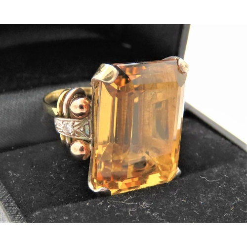 47 - Ladies Dress Ring Mounted with Emerald Cut Citrine of Attractive Hue Mounted on 14 Carat Yellow Gold...