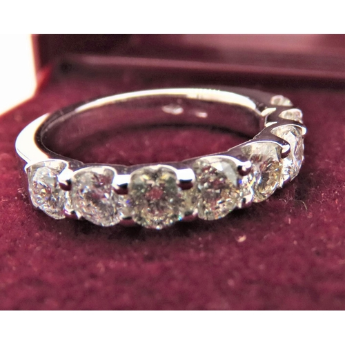 49 - Eight Stone Ladies Half Eternity Diamond Ring Mounted on 18 Carat White Gold Ring Size M and a Half...