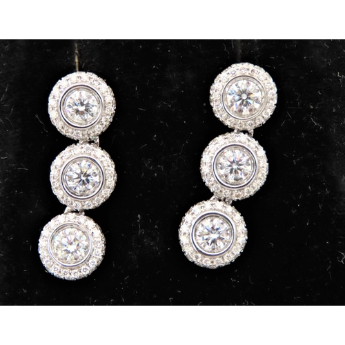 50 - Pair of Three Stone Diamond Earrings Total Carat Weight Approximately 3.2 Each Mounted on 18 Carat W...