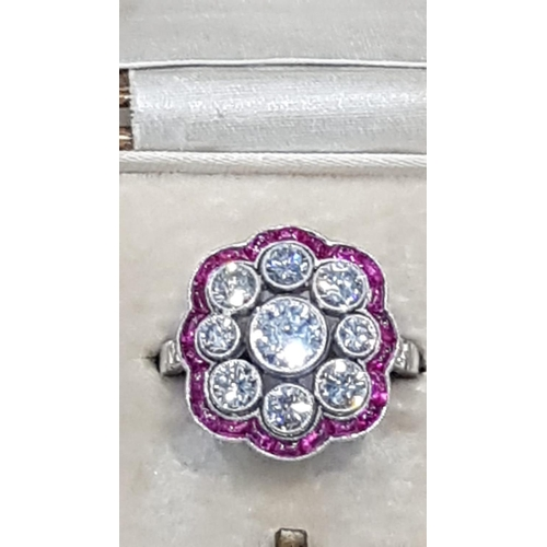 501 - Platinum Set Ruby and Diamond Cluster Ring Attractive Colour Mounted on Platinum Band Ring Size M an...