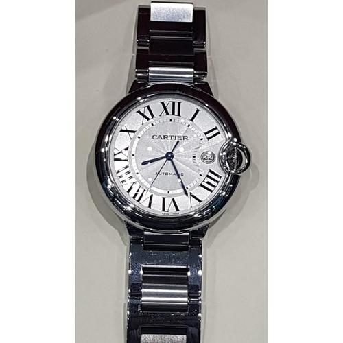 502 - Cartier Gentleman's Ballon Bleu Wristwatch Large Size with Original Box and Papers Working Order Bra...