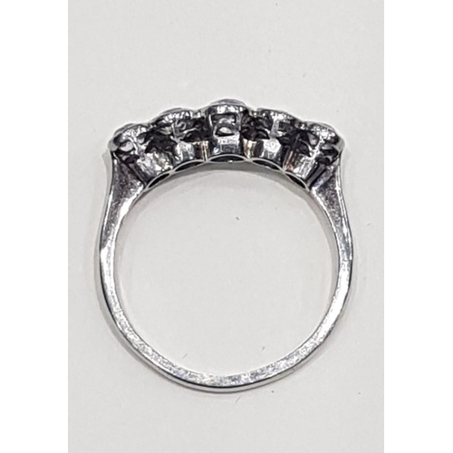 503 - Five Stone Ladies Diamond Ring of Good Colour Platinum Set Mounted on 18 Carat White Gold Band Ring ...