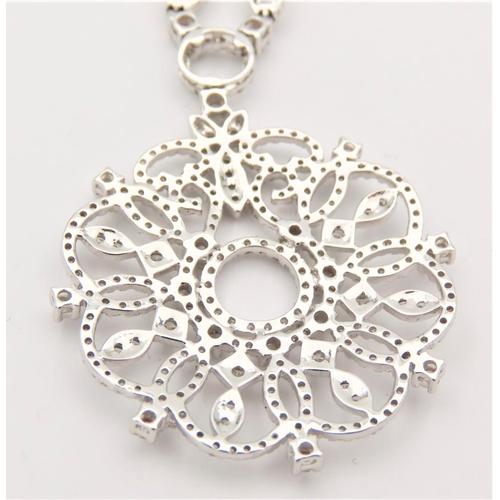 51 - 18 Carat White Gold Set Ladies Pendant Necklace Mounted on 18 Carat White Gold Chain. Pendant Diamet...