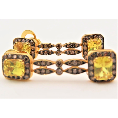 52 - Pair of Yellow Sapphire and Diamond Set 18 Carat Yellow Gold Mounted Ladies Drop Earrings Each Appro...