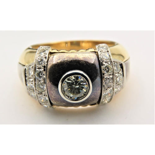 53 - Diamond Centre Stone Ring with Plique A Jour Decoration Mounted on 18 Carat Yellow Gold Total Diamon...