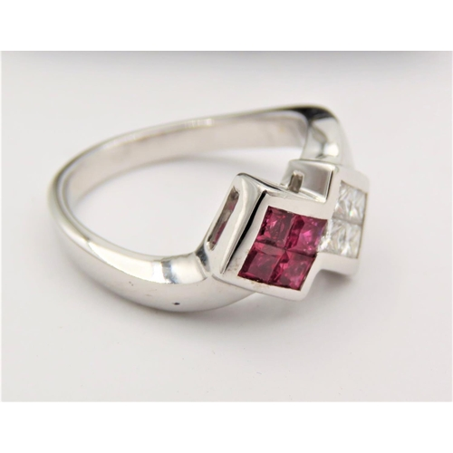 54 - Ruby and Diamond Ladies Crossover Ring Mounted on 18 Carat White Gold Ring Size L...