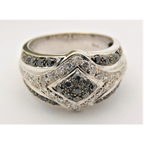 55 - Pave Set Ladies 18 Carat White Gold Ring Mounted with Black and White Diamonds Ring Size N Attractiv...