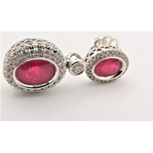 56 - Pair of Diamond and Ruby Set Ladies Earrings Rubys of Fine Colour Burmese Mounted on 18 Carat Gold A...