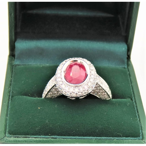 57 - Diamond and Ruby Cluster Ring Burmese Ruby Approximately 1.5 Carats, Diamonds Approximately 1.2 Cara...