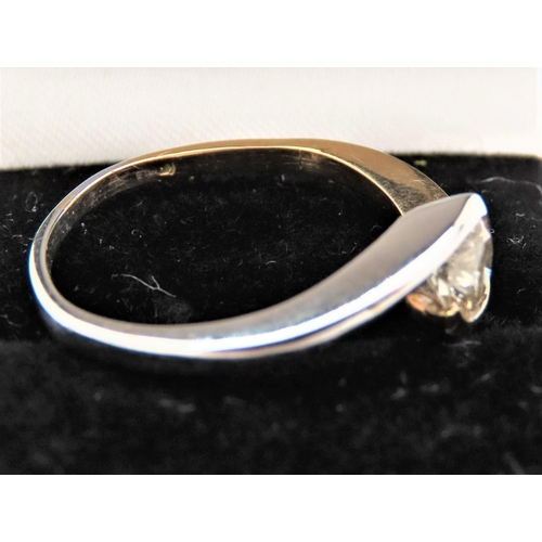 58 - Diamond Solitaire Ring Crossover Setting Mounted 18 Carat White and Yellow Gold Band Diamond Approxi...