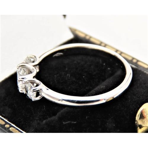 59 - Three Stone Ladies Diamond Ring Mounted on 18 Carat White Gold High Colour Ring Size O...