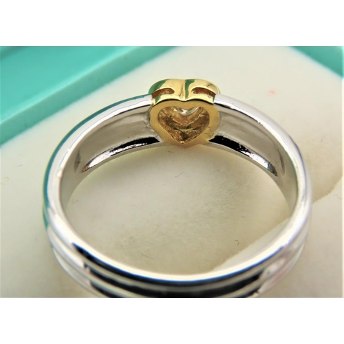 61 - Heart Motif Ladies Diamond Ring Set on 18 Carat Gold Three Band Setting Ring Size M and a Half