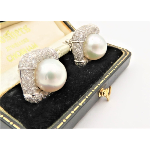 66 - Pair of Diamond and Cluster Pearl Set Ladies Earrings Mounted on 18 Carat Gold Approximately 4 Carat...