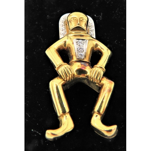 67 - Unusual Aztec Archaic Form Yellow Gold Diamond Decorated Ladies Brooch Approximately 5cm Height...