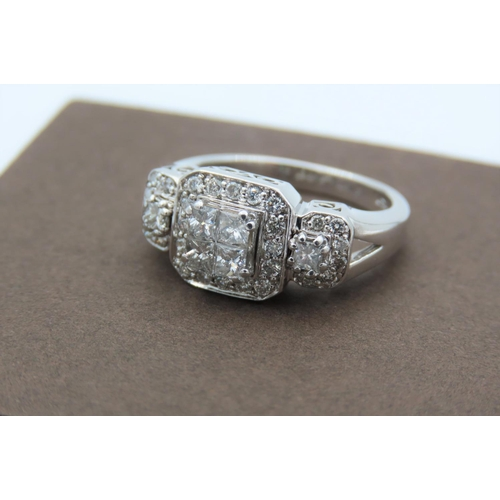 7 - 14 Carat White Gold Mounted Ladies Diamond Cluster Ring Consisting of Central Group Four Princess Cu...