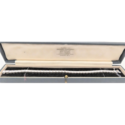 70 - Fine 18 Carat White Gold Set Ladies Diamond Line Bracelet Approximately 8 Carats of Diamonds High Br...
