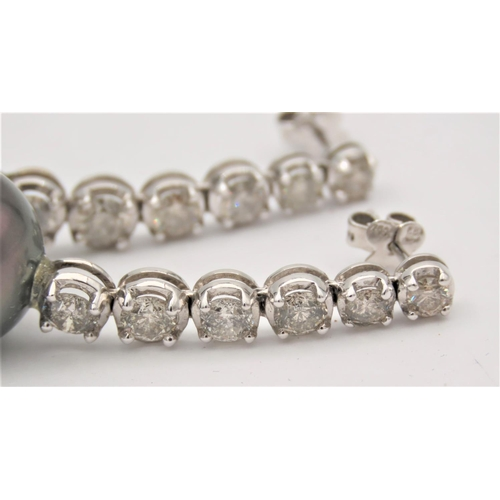 71 - Pair of Tahitian Pearl Drop Form Earrings Each Mounted with Six Diamonds Total Diamond Weight 3.3 Ca...