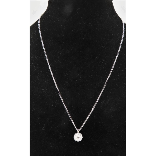 72 - Ladies 18 Carat White Gold Set Diamond Pendant Necklace of Good Colour Cluster Form Mounted on 18 Ca...