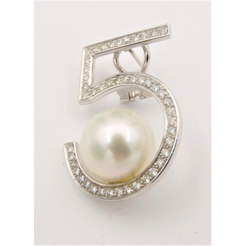 73 - Pair of Diamond and Pearl Set Ladies Earrings Mounted on 18 Carat White Gold Coco Chanel Design 55 M...