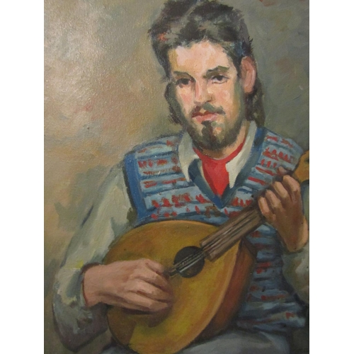 11 - Mollie Maguire Young Man with Mandolin Oil on Canvas Approximately 24 Inches High x 20 Inches Wide S...