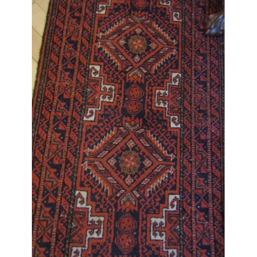 12 - Persian Pure Wool Runner Burgundy Ground with Repeated Geometric Pattern Good Condition Approximatel...