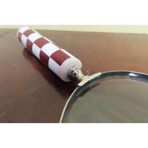 1250 - Pair of Marquetry Handled Chrome Plate Bound Magnifying Glasses with Turned Finial Decoration Each A...