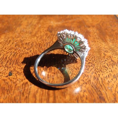 1251 - Emerald and Diamond Ladies Cluster Ring Approximately 1 Carat of Diamonds Surrounding 1 Carat of Eme...