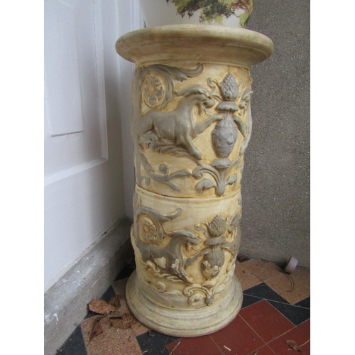 13 - Antique Jardiniere Stand with Jardiniere Hand Painted Stand Approximately 25 Inches High, Jardiniere...