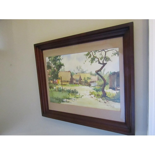 1397 - Ong Chye Cho Vietnam Village Watercolour Approximately 37cm High x 55cm Wide Purchased 1980