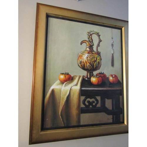 15 - Continental School Still Life with Ewer and Fruit Oil on Canvas Approximately 20 Inches High x 16 In...