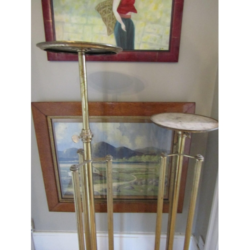 16 - Antique Pair of Cast Brass Stands Telescopic Form Adjustable Height Each Approximately 50 Inches Hig...