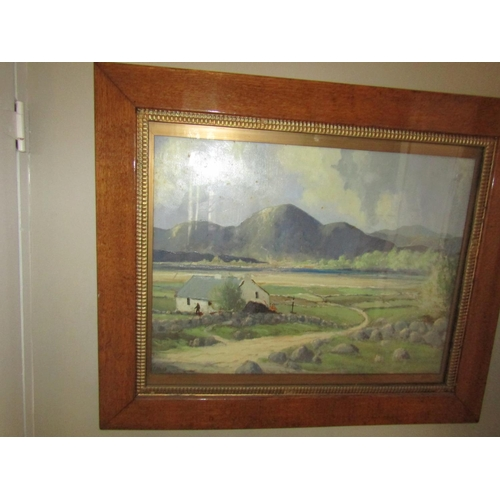 17 - Irish School Cottage with Turf and Mountains Beyond Oil on Canvas Signed Lower Left Approximately 20...