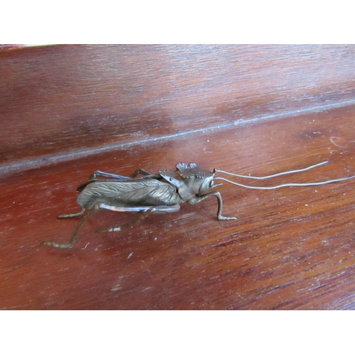 Unusual Japanese Articulated Figure of Insect Finely Detailed Signed with Characters to Base Approximately 3 Inches Long