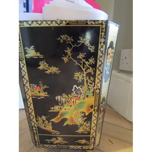 19 - Gilt Decorated Toileware Waste Paper Basket on Gilded Bun Supports Approximately 14 Inches High...