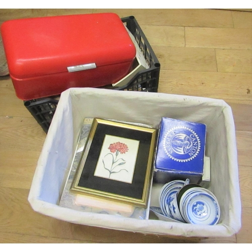 Wicker Basket Contained Various Items with Red Enamel Bread Bin and Crate with Other Items Contained within Quantity As Photographed