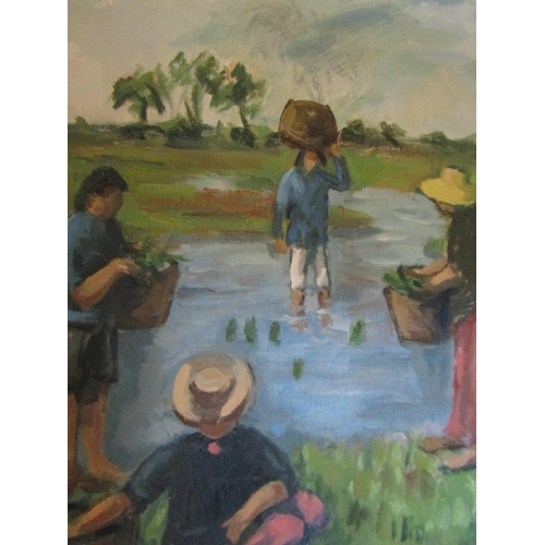 21 - Mollie Maguire Planting the Rice Oil on Canvas 25cm High x 45cm Wide Signed Lower Right Acquired fro...