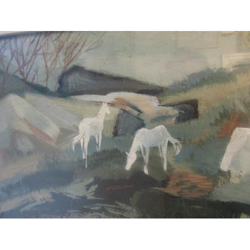 23 - George Campbell (1917-1979) Horses in Limestone Landscape, Connemara Oil on Board Signed Lower Left ...