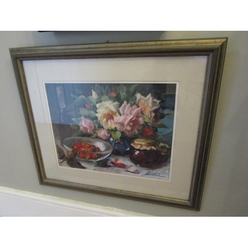25 - Irish School Signed Blaithin Oil on Board Still Life with Strawberries Approximately 14 Inches High ...