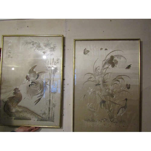 263 - Pair of Antique Oriental Silk Wall Panels Finely Detailed Depicting Various Exotic Birds Each Panel ...
