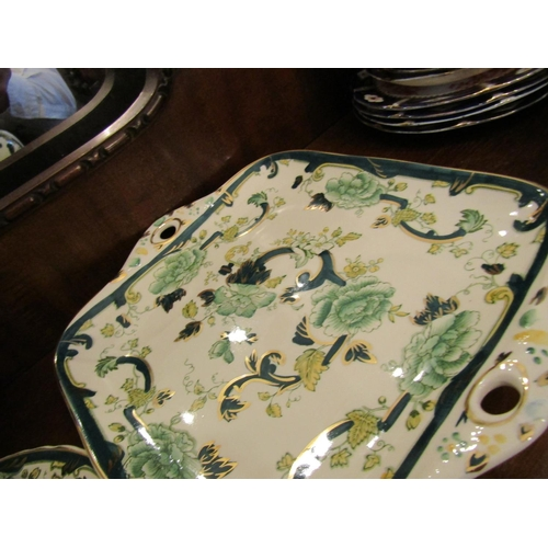 27 - Masons Chartreuse Fine Porcelain Part Dinner Service with Various Serving Dishes Quantity As Photogr...