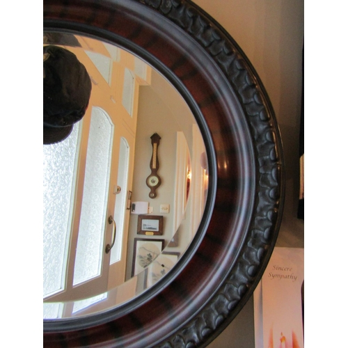 3 - Edwardian Walnut Oval Form Wall Mirror Approximately 24 Inches Wide...
