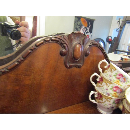 32 - Antique Mahogany Twin Bow Front Display Cabinet Attractive Form on Claw and Ball Carved Supports wit...