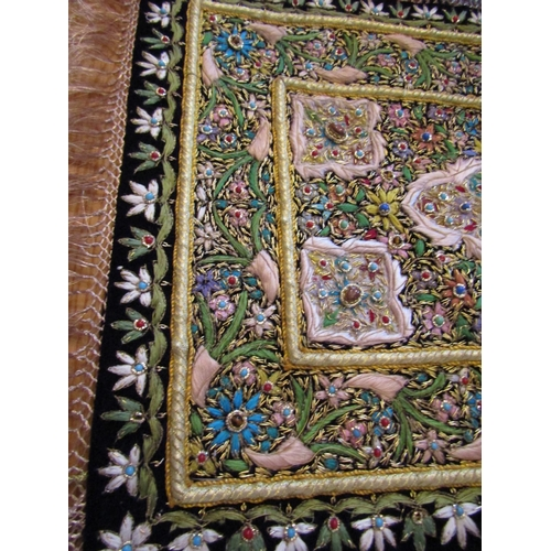 33 - Fine Silkwork Wall Panel with Detailed Stitching and Gemstone Set Decoration Approximately 20 Inches...