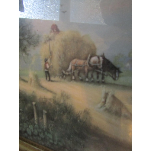34 - Edwardian School Saving the Hay Watercolour Approximately 9 Inches High x 10 Inches Wide Contained w...