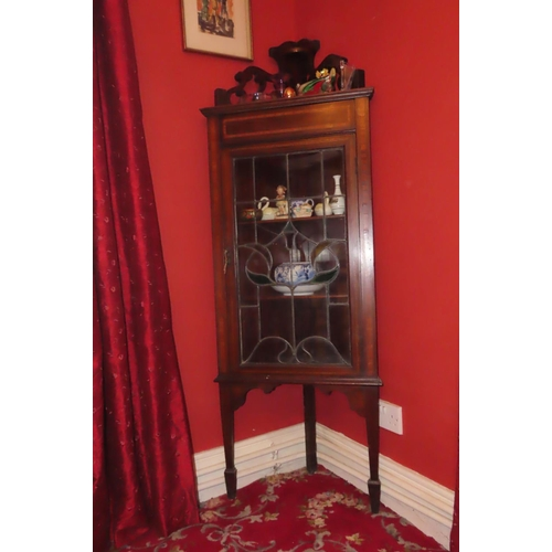 Antique Mahogany Satinwood Crossbanded Corner Cabinet with Single Glazed Door Attractive Form Approximately 19 Inches Wide x 5ft 10 Inches High