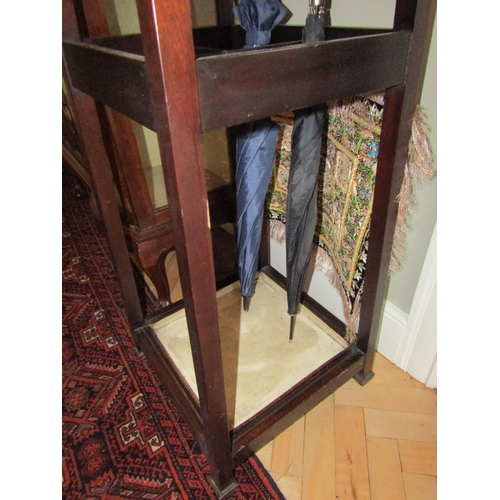 37 - Edwardian Mahogany Hat and Coat Stand Tapering Form with Internal Stick and Umbrella Rest Original D...