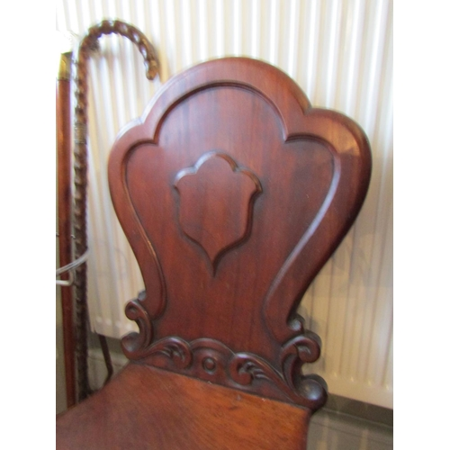 4 - Irish William IV Pair of Mahogany Hall Chairs with Shield Form Back above Turned Supports...